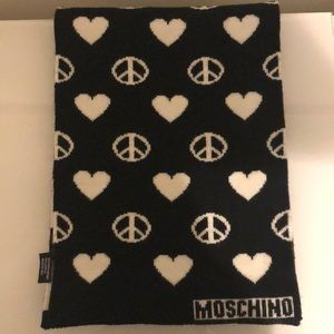 MOSCHINO Heart & Peace Sign Wool Knot Scarf.